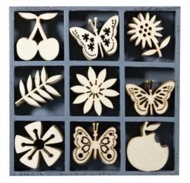 1852 1108- box met 45 stuks houten ornamentjes fruit & vlinders 10.5x10.5cm
