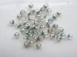 2006- 50 stuks electroplated geslepen glaskralen van 4x3mm grijs/smaragd