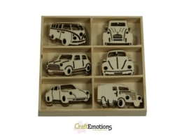 CE811500/0231- 30 stuks houten ornamentjes in een doosje auto's 10.5x10.5cm
