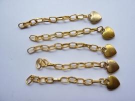 CH.062- 5 stuks verlengkettinkjes van 6.5cm lang met hartje aan het eind goudkleur
