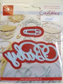 0002506- Marianne Design Creatables stencil nr.217 tekst baby en speld 16cm breedcm OPRUIMING