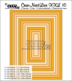 CE115634/0010- Crealies Crea-nest-lies XXL - no.10 rechthoek 10 stuks van 5 tot 16cm