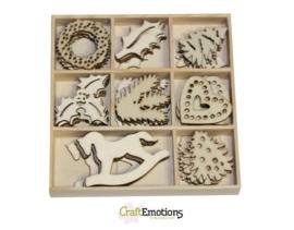 CE811500/0216- 40 stuks houten ornamentjes in een doosje kerst 10.5x10.5cm