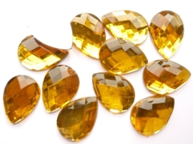 12 stuks kunststof strass stenen druppelvorm honing/goud 25x18mm - SUPERLAGE PRIJS!