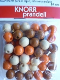 6030 550- 50 stuks 10 mm. houten kralen bruin/oranje mix