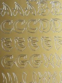 st1000- stickervel met Japans/Oosterse letters 10x23cm goud