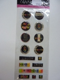 5961- Provocraft stand-outs epoxy stickers zelfklevende buttons 21x8cm OPRUIMING