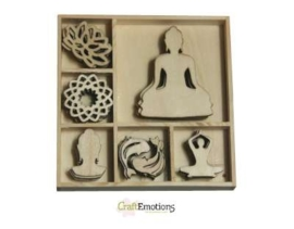 CE811500/0181- 35 stuks houten ornamentjes in een doosje buddha 10.5x10.5cm