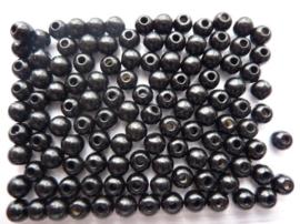 6010 690- 118 stuks houten kralen van 6mm zwart