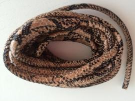 PU.02- 3 meter imitatieleren koord slangenprint lichtbruin 4mm