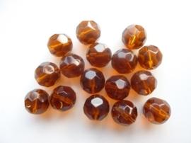 1254- 16 stuks geslepen glaskralen van 10mm transparant bruin - SUPERLAGE PRIJS!