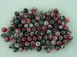 3968- ruim 95 stuks natural jade kralen van 4mm grijs/roze