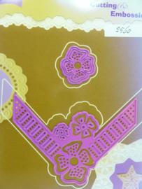 0002560- Joy Crafts stencil nr. 0041 - hoek met bloemen 9x9cm OPRUIMING