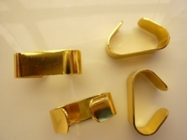 000131- 4 stuks koordbeugels van 9x29mm goudkleur OPRUIMING