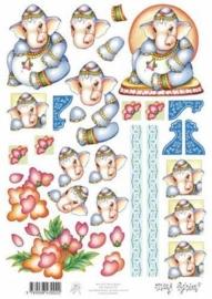 kn/1577- A4 knipvel Marij Rahder baby olifant - 117140/2751