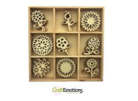 CE811500/0235- 45 stuks houten ornamentjes in een doosje bloemen 10.5x10.5cm