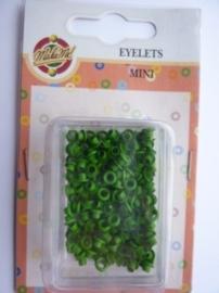 005223.C- doosje met ca. 200 stuks mini eyelets groen OPRUIMING
