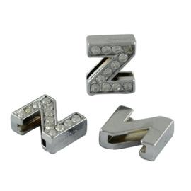 letter Z - leerschuiver met strass steentjes zilver 13mm
