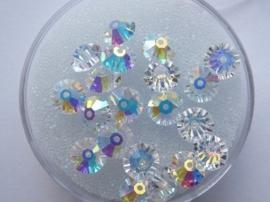 002210/0707- 20 x swarovski kristal kralen mix van disc & bicone 6mm crystal AB