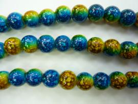 3743- ca. 50 stuks baking painted glaskralen van 8mm blauw/geel