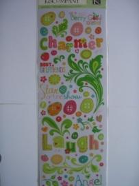 5582- K&Co rub-ons berry sweet diverse teksten met glitter 30x12cm