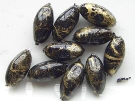 0831- 10 x gemarmerde kunststof kralen zwart/goud 16x8.5mm OPRUIMING