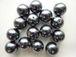 2239- 15 x ronde glasparels 12mm antraciet - SPECIALE PRIJS!