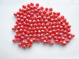 3912- ca. 145 stuks geslepen glaskralen van 4x3mm rood AB - SUPERLAGE PRIJS!