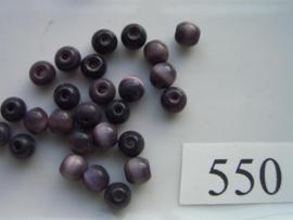 550 Tijgeroog / cateye Ronde glaskraal 6mm paars