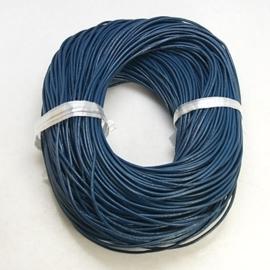 1 meter echt leren veter marineblauw van 2 mm. dik - AA kwaliteit - SUPERLAGE PRIJS!