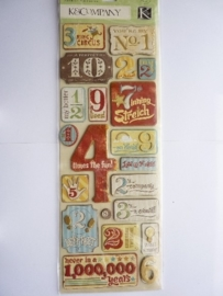 "5614- K&Co grand adh. chipboard 3D stickers ""wild safion numbers"" 12x30cm"