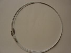 3 x draadcollier / staaldraad ketting met sluiting van 45cm wit