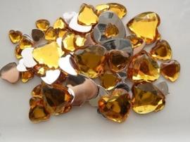 2282 0214- 80 x kunststof strass stenen assortiment hartjes van 8 tot 18mm goud geel