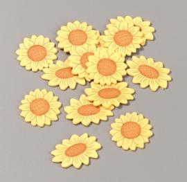8022 038- 14 stuks houten bloemen decoratie van 3cm