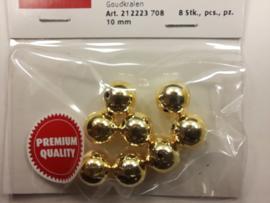 2223 708 - 8 stuks wax parels van 10 mm. - goud - premium kwaliteit