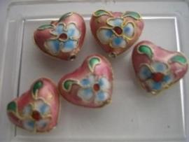 Hartje CLOISSONNE kralen 5 stuks rose 1405