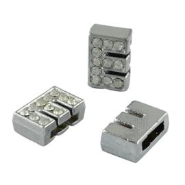 letter E - leerschuiver met strass steentjes zilver 13mm