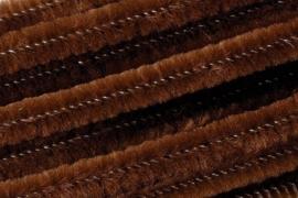 8476 586- 10 stuks chenille draad van 50cm lang en 8mm breed bruin
