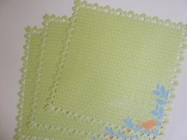 004003- 3 x scrapbook stansvellen 30.5x30.5cm lichtgroen kikker decor OPRUIMING