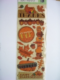 5565- K&Co 3D stickers chipboard happy thanksgiving 30x12cm