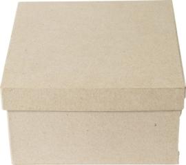 1929 2931- eco shape stevige decoratie vierkante doos van papier mache 27x27cm