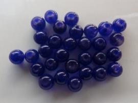 3774- 30 stuks imitatie Jade glaskralen 7-8mm donkerblauw - SUPERLAGE PRIJS!