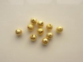 CH.EC248.G- 10 stuks metalen stardust kralen 6mm goudkleur
