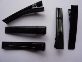 CH.002-5- haarclip / haarklem om zelf te versieren 60x10mm zwart 5 stuks - SUPERLAGE PRIJS!