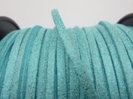 3 meter imitatie suede veter van 3mm breed licht blauw/turqoise met 2 zijdige glitterlaag