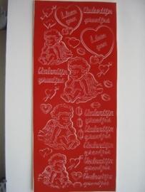 st542- valentijngroetjes rood 10x20cm