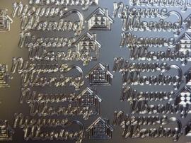 st1082- stickervel zilver met tekst nieuwe woning 10x20cm