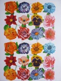 """p0015026- nostalgisch poezie plaatje """"bloemen"""" 24x15cm"""
