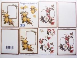"""kn/255- A4 3D knipvel Le suh """"bloemen met medaillon"""" OPRUIMING"""