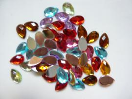 50 stuks kunststof strass stenen druppelvorm kleuren mix 12x8mm - SUPERLAGE PRIJS!